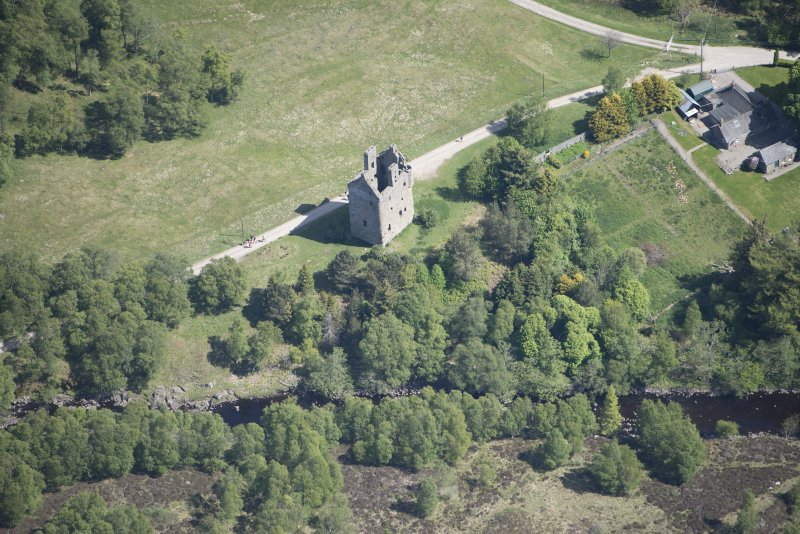 Oblique aerial view of Invermark Castle, looking NE.