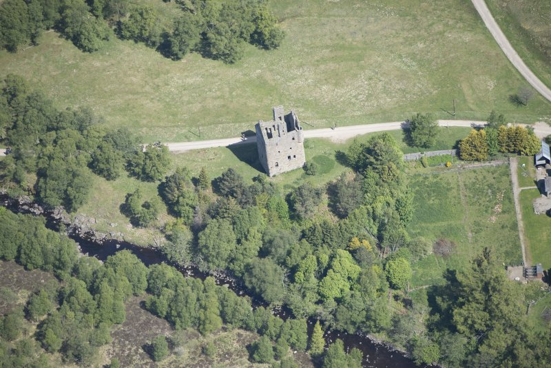 Oblique aerial view of Invermark Castle, looking NNE.