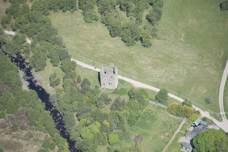 Oblique aerial view of Invermark Castle, looking NNW.