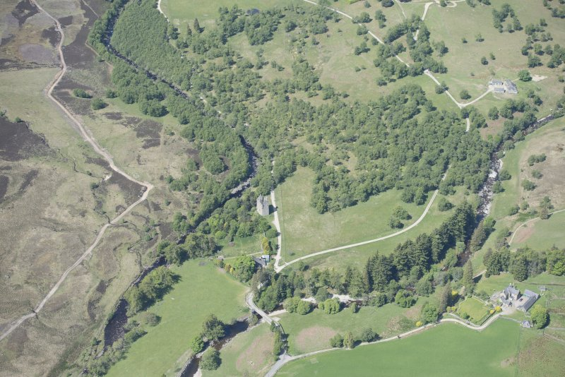 Oblique aerial view of Invermark Castle, looking WNW.