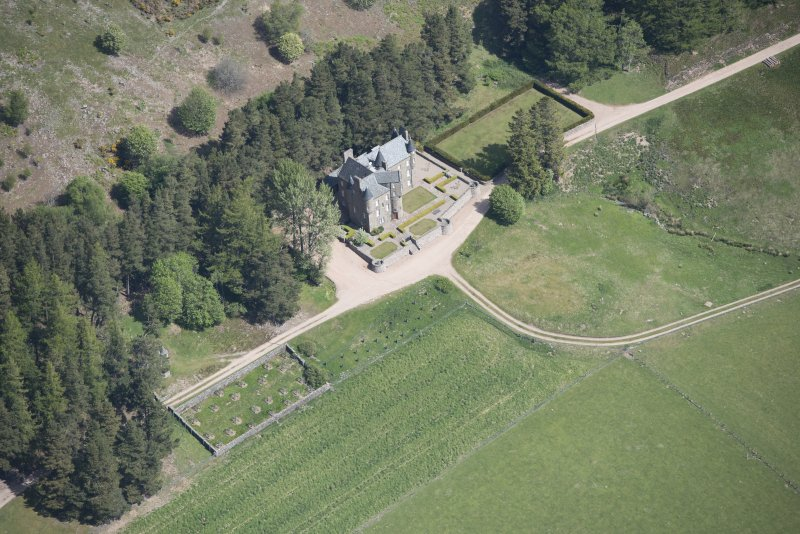 Oblique aerial view of Birse Castle, looking NNE.