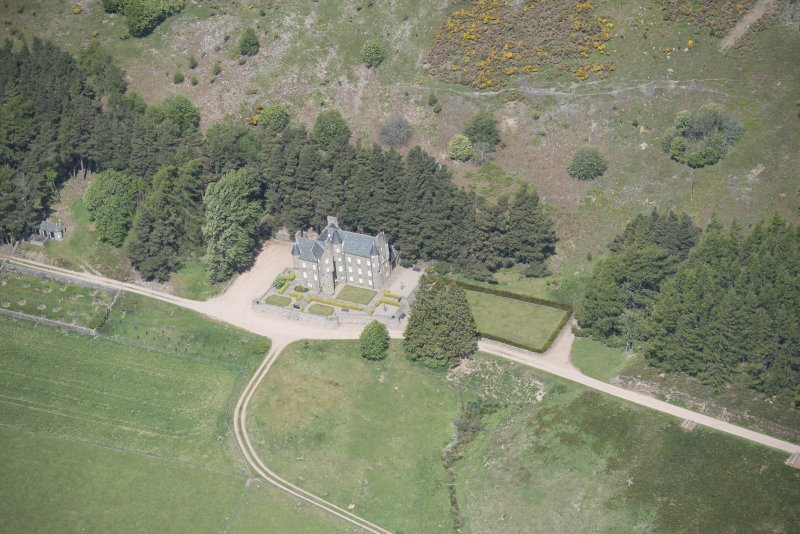 Oblique aerial view of Birse Castle, looking NNW.