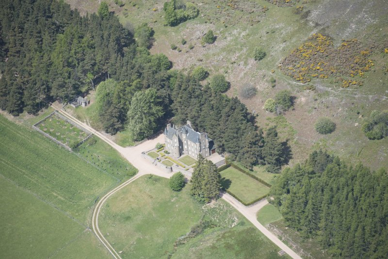 Oblique aerial view of Birse Castle, looking W.