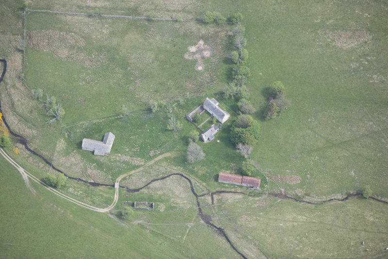 Oblique aerial view of Scalan Cottage and Roman Catholic Seminary, looking NE.
