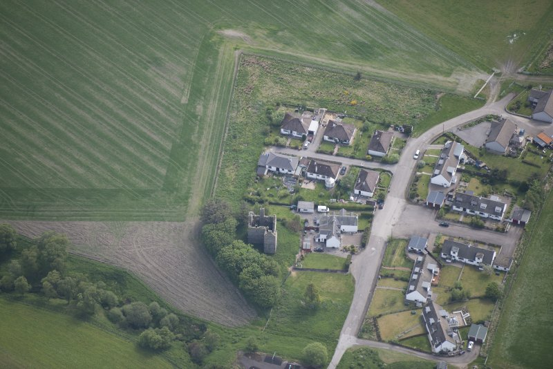 Oblique aerial view of Blairfindy Castle, looking ESE.