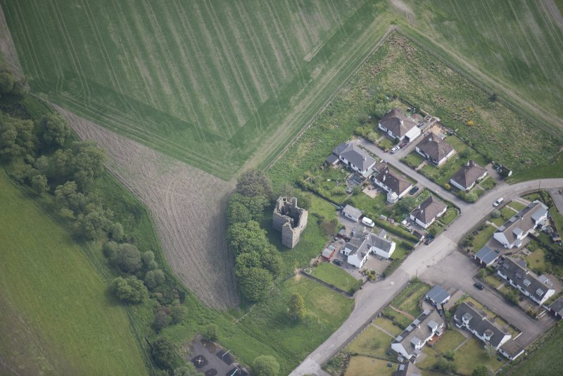 Oblique aerial view of Blairfindy Castle, looking E.