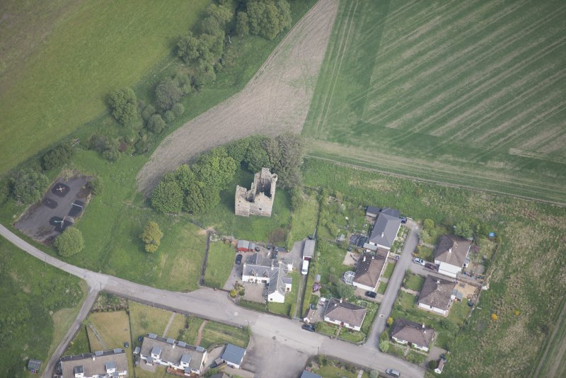Oblique aerial view of Blairfindy Castle, looking NNE.