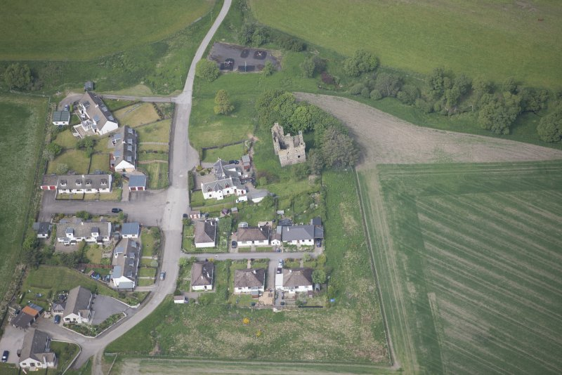Oblique aerial view of Blairfindy Castle, looking NW.
