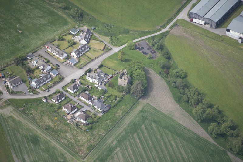 Oblique aerial view of Blairfindy Castle, looking WSW.
