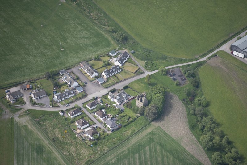 Oblique aerial view of Blairfindy Castle, looking SW.
