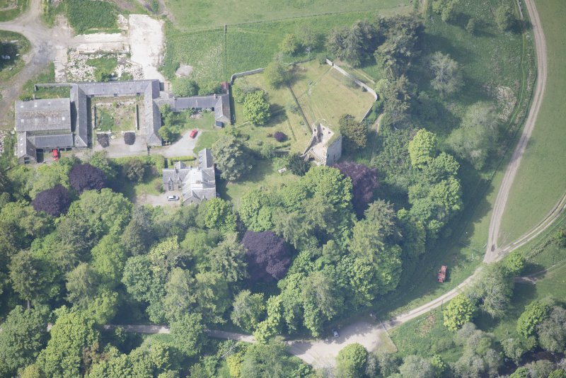 Oblique aerial view of Drumin Castle and Drumin Farmstead, looking W.