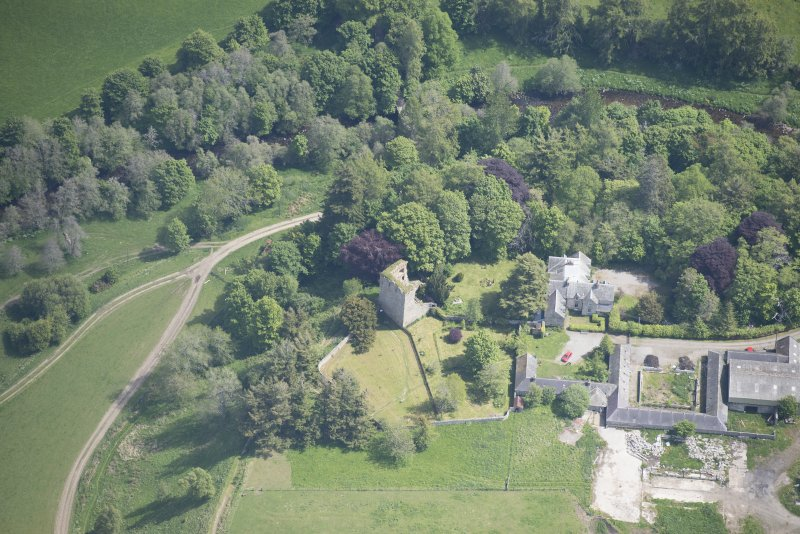 Oblique aerial view of Drumin Castle, looking E.
