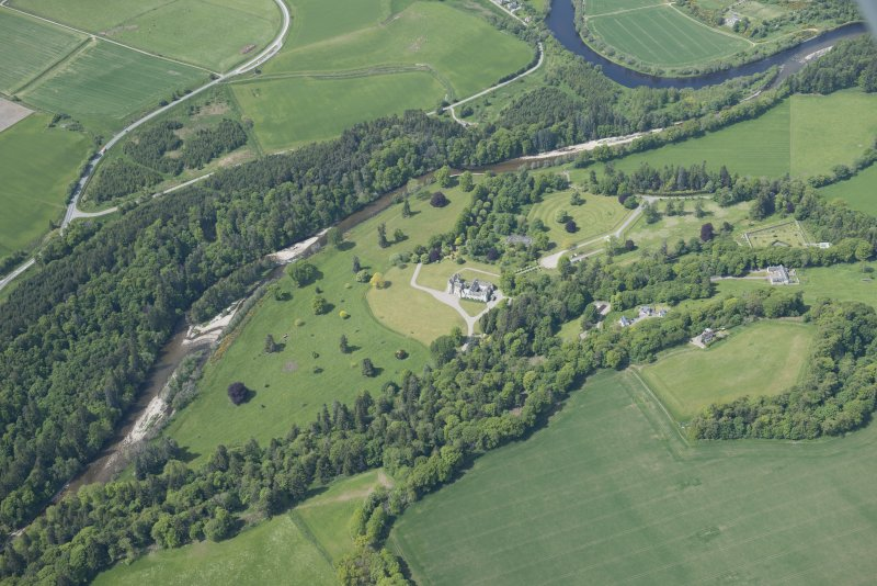 Oblique aerial view of Ballindalloch Castle, looking W.