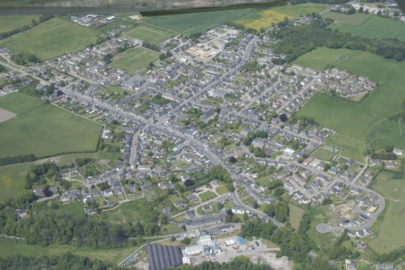 Oblique aerial view of Dufftown, looking NW.