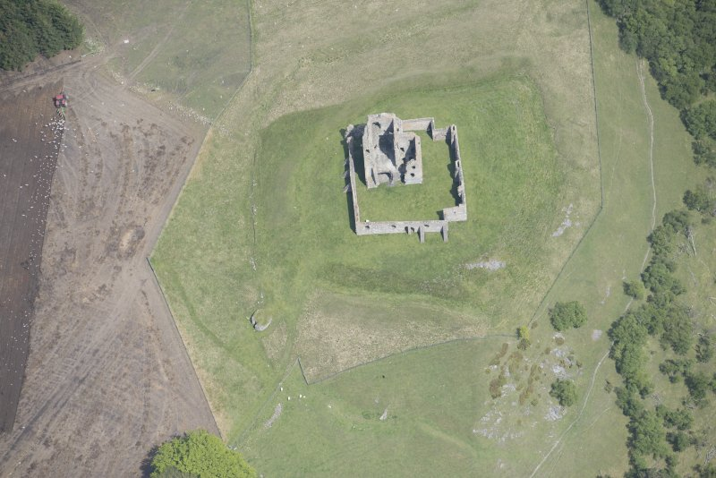 Oblique aerial view of Auchindoun Castle, looking ENE.