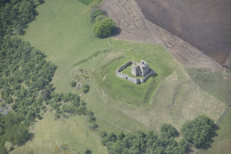 Oblique aerial view of Auchindoun Castle, looking WSW.