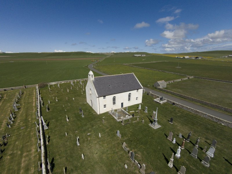 Oblique aerial view of St Peter's Kirk, looking NE.