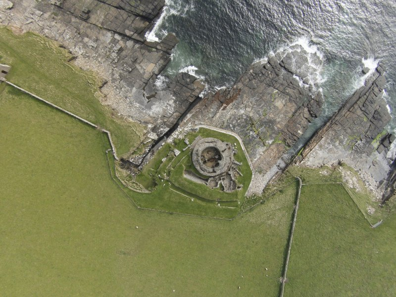 Near vertical aerial view of Mid Howe broch, looking S.