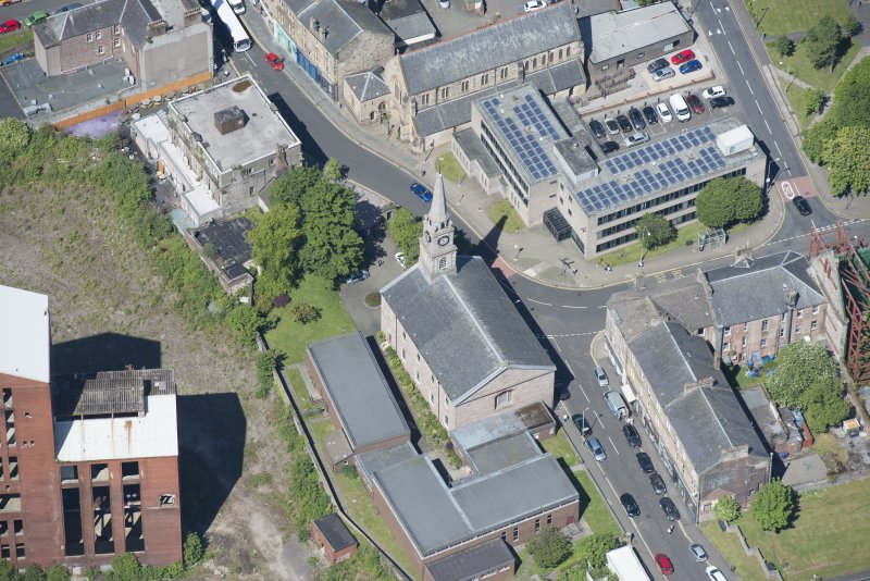 Oblique aerial view of Riverside Parish Church, looking WNW.