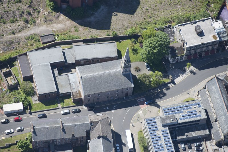 Oblique aerial view of Riverside Parish Church, looking SSW.