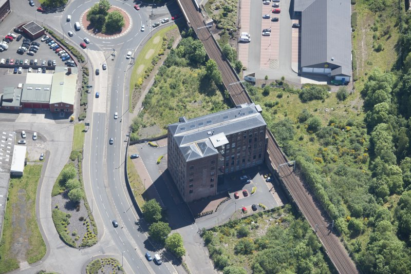 Oblique aerial view of Gourock Rope Works, looking SE.
