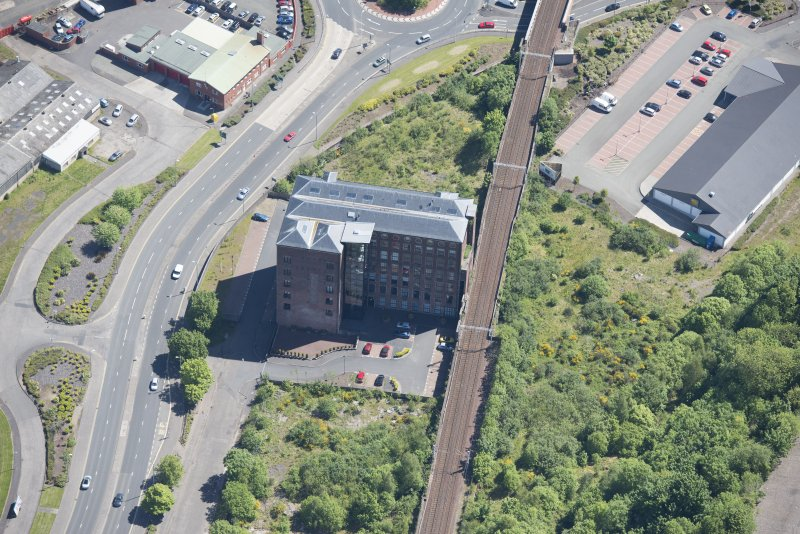 Oblique aerial view of Gourock Rope Works, looking E.