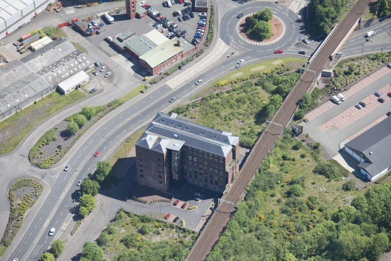 Oblique aerial view of Gourock Rope Works, looking ENE.