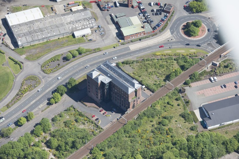 Oblique aerial view of Gourock Rope Works, looking NE.