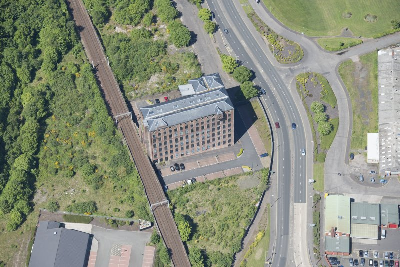 Oblique aerial view of Gourock Rope Works, looking NW.