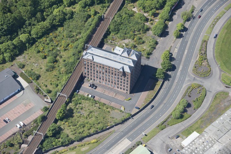 Oblique aerial view of Gourock Rope Works, looking WSW.