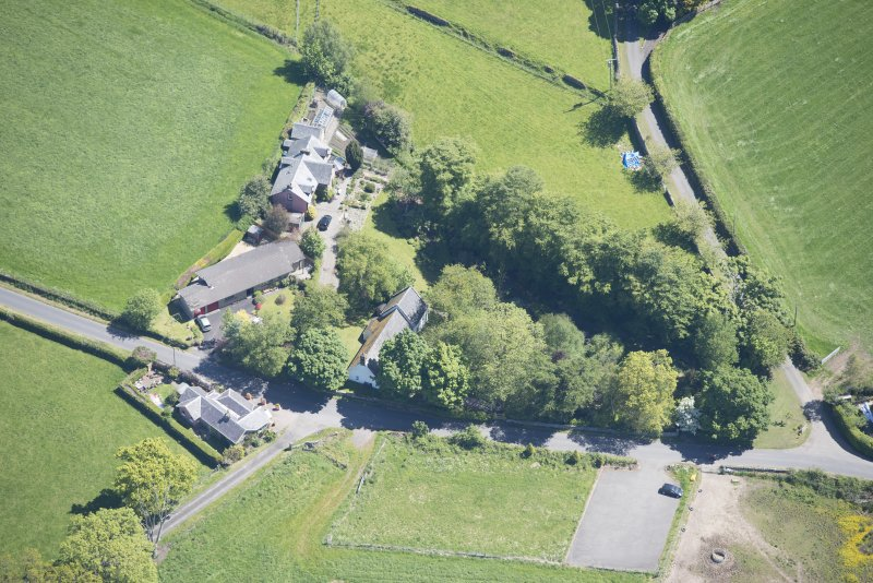 Oblique aerial view of St Mahew's Chapel, looking ENE.