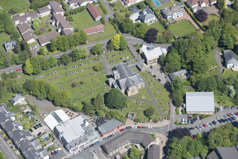 Oblique aerial view of New Kilpatrick Parish Church, looking NNE.