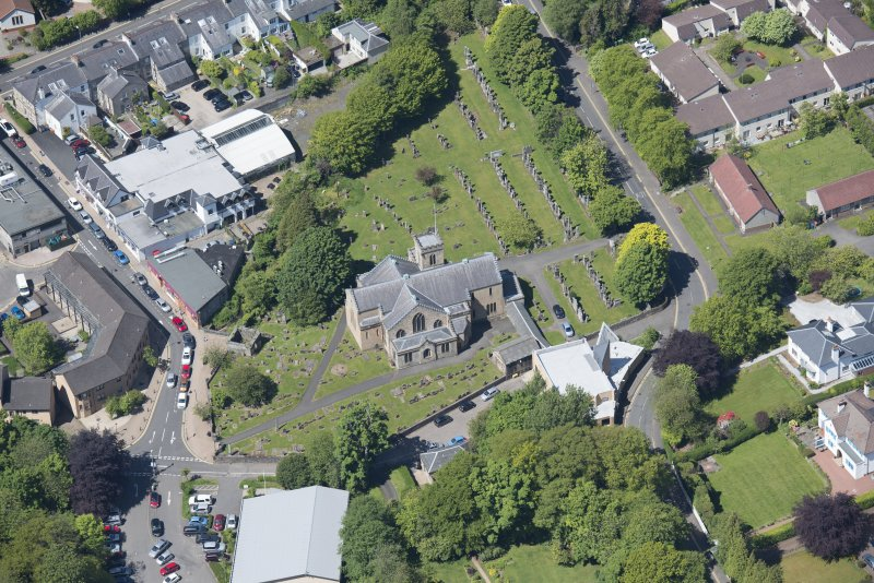 Oblique aerial view of New Kilpatrick Parish Church, looking WNW.