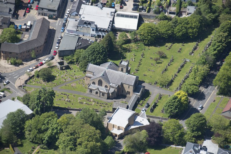 Oblique aerial view of New Kilpatrick Parish Church, looking WSW.