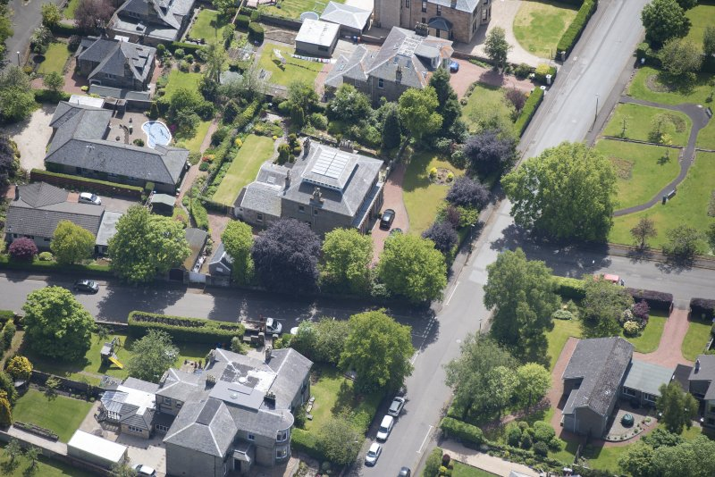 Oblique aerial view of 27 Victoria Road, looking SE.
