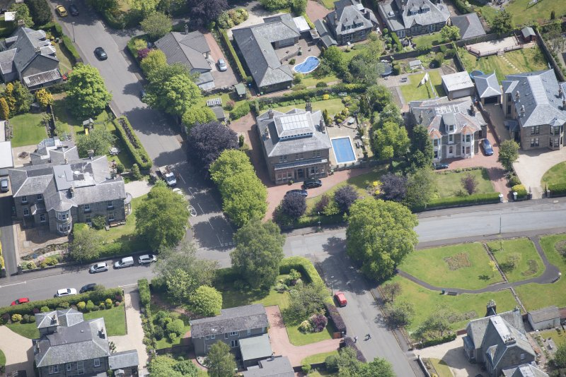 Oblique aerial view of 27 Victoria Road, looking E.