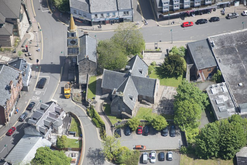 Oblique aerial view of Kirkintilloch Old Church and Town Steeple, looking ENE.