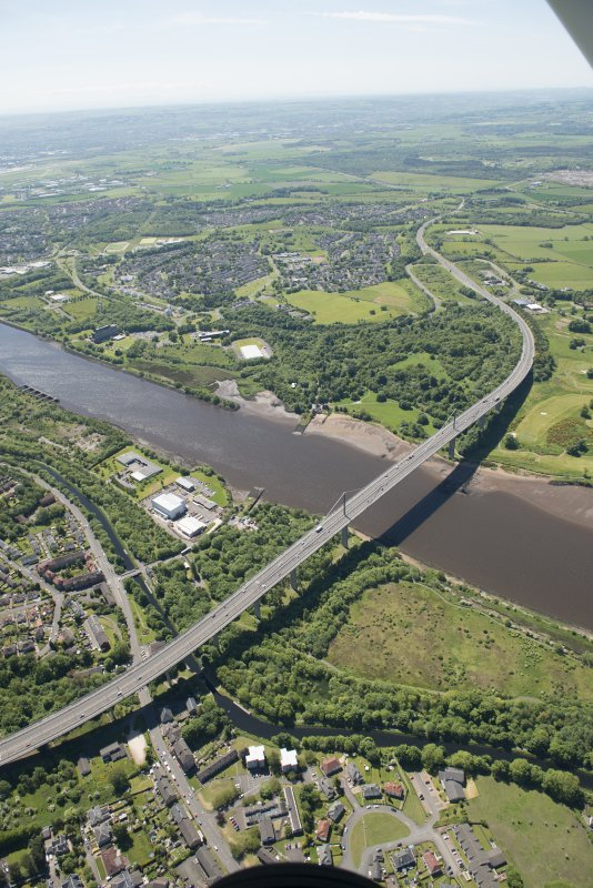 Oblique aerial view of the Erskine Bridge, looking S.