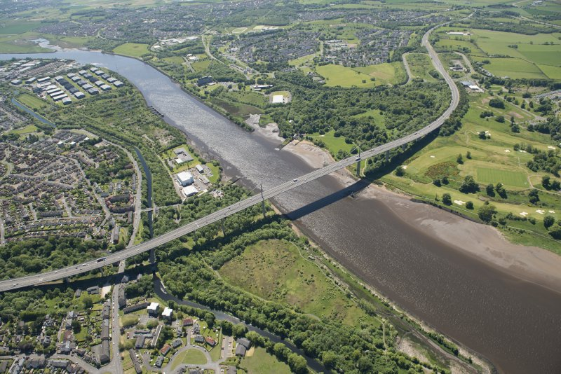 General oblique aerial view of the River Clyde centred on the Erskine Bridge, looking S.