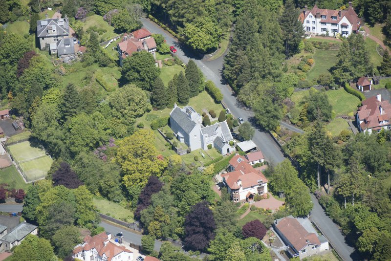 Oblique aerial view of Windyhill House, looking NNE.