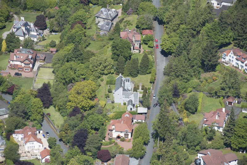 Oblique aerial view of Windyhill House, looking WSW.