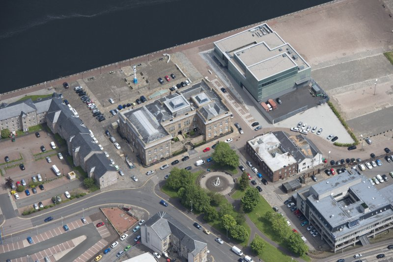 Oblique aerial view of Greenock Custom House, looking ENE.