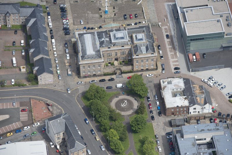 Oblique aerial view of Greenock Custom House, looking NE.