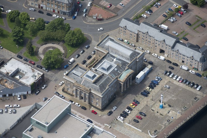 Oblique aerial view of Greenock Custom House, looking WSW.