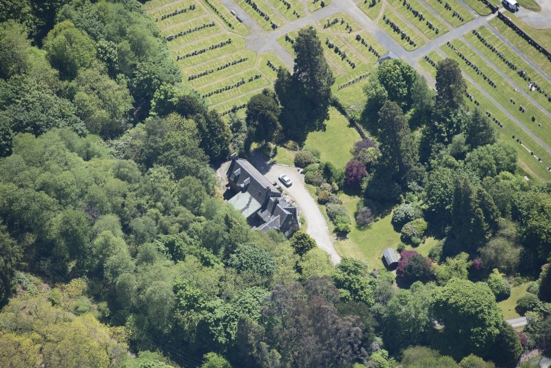 Oblique aerial view of Old Kilmun House, looking SE.