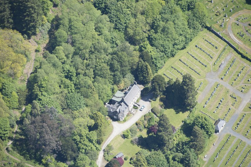 Oblique aerial view of Old Kilmun House, looking ENE.