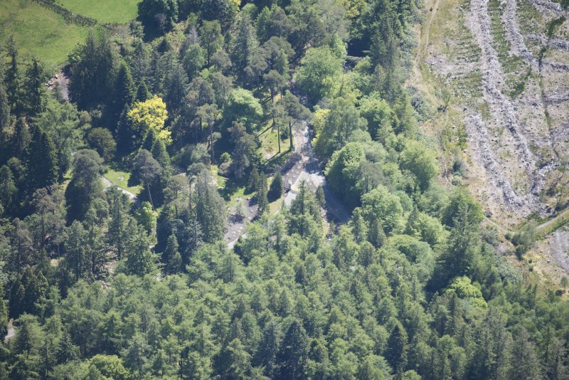 Oblique aerial view of Benmore House entrance gates, looking SSE.