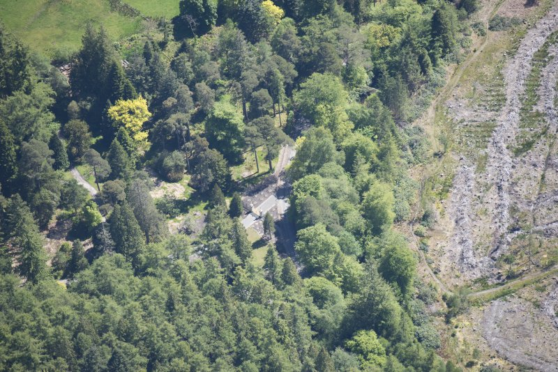Oblique aerial view of Benmore House entrance gates, looking ESE.