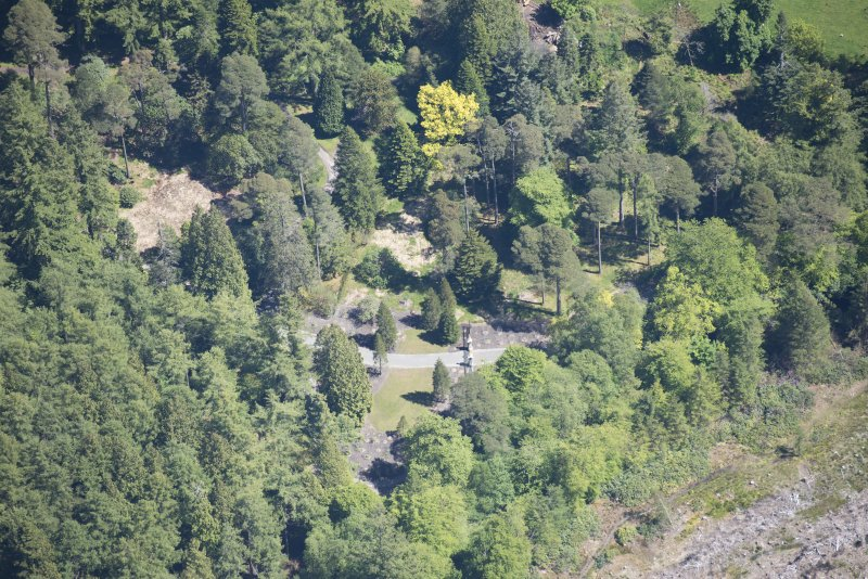 Oblique aerial view of Benmore House entrance gates, looking E.