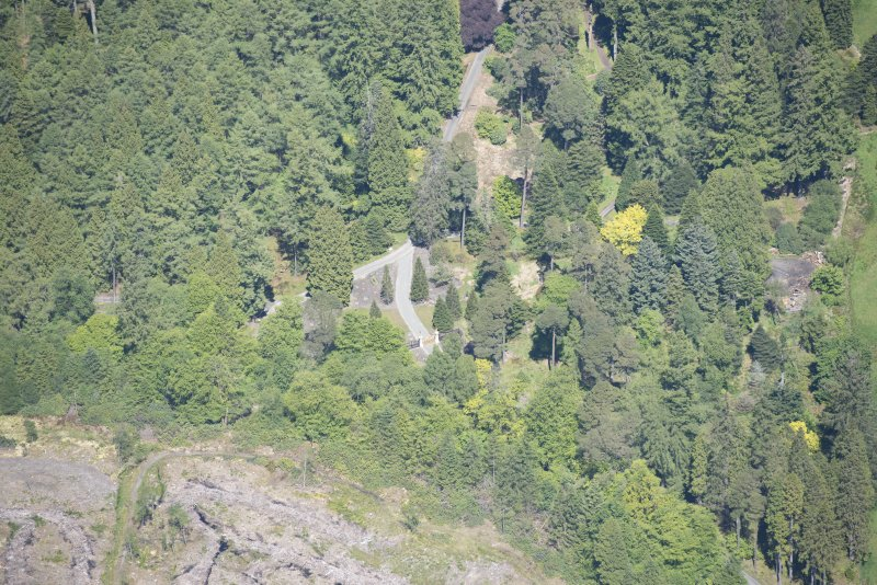 Oblique aerial view of Benmore House entrance gates, looking NNW.